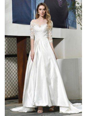 Ivory Satin Wedding Dress Illusion Neck Half Lace Sleeves With Train