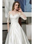 Ivory Satin Wedding Dress Illusion Neck Half Lace Sleeves With Train