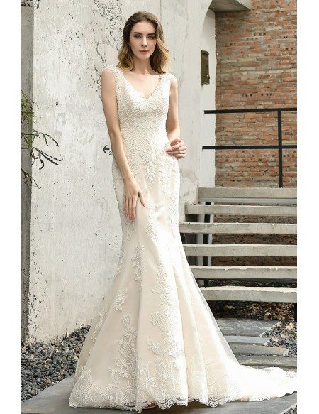 Unique Ivory Lace With Champagne Mermaid Wedding Dress Vneck With Train Lace Trim