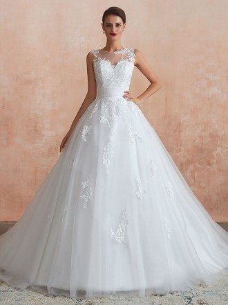 2020 Sleeveless Tulle Lace Ballroom Bridal Gown With Buttons