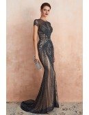 Luxury Beading Fitted Mermaid Champagne Formal Dress For 2020 Wedding
