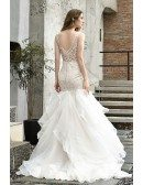 Stunning Sheer Lace Fitted Trumpet Wedding Dress With Ruffles Train