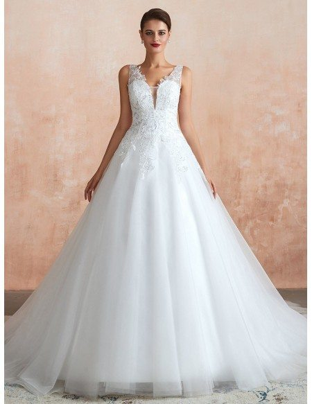 Classy V Neck Sequin Lace Ballroom Wedding Dress Sleeveless For 2020