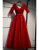 Modest Vneck Red Satin Formal Dress With Sequins Sleeves