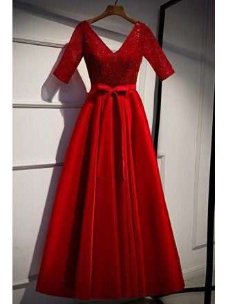 Modest Vneck Red Satin Formal Dress With Sequins Sleeves