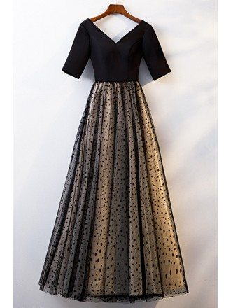Long Black Polka Dot Modest Party Dress With Sleeves