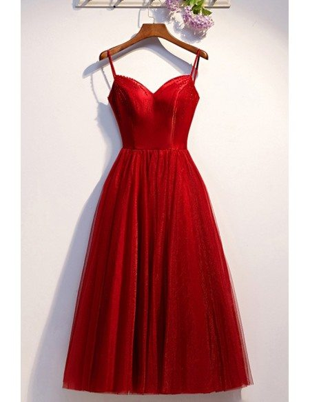 Burgundy Simple Red Tulle Party Dress With Straps