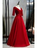 Sequined Vneck Modest Long Burgundy Formal Dress With Sleeves