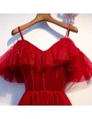 Burgundy Flowy Long Tulle Party Dress With Straps