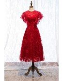 Special Burgundy Red Lace Tea Length Party Dress With Round Neck