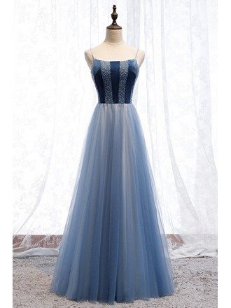 Blue Tulle Striped Top Long Party Dress With Straps