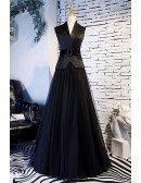 Long Black Aline Tulle Formal Dress With Suit Vneck Collar
