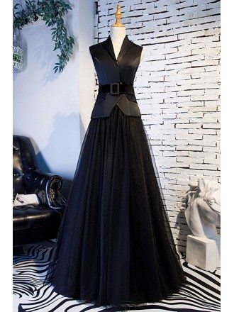 Long Black Aline Tulle Formal Dress With Suit Vneck Collar