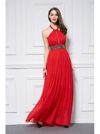 Stylish A-Line Halter Embroided Chiffon Long Prom Dress With Ruffle