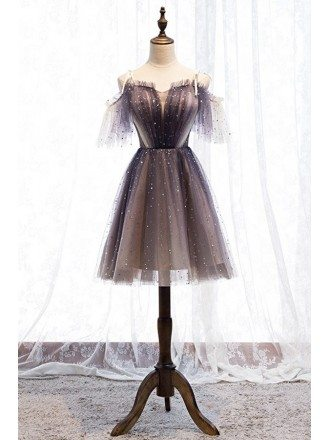 Cute Purple Tulle Short Party Dress With Bling