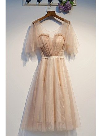Nude Short Tulle Hoco Party Dress With Puffy Sleeves