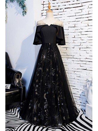 Special Ruffle Sleeve Long Black Party Dress With Patterns