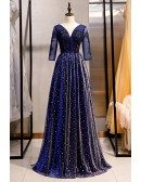 Long Formal Bling Tulle Evening Dress Vneck With Illusion Sleeves