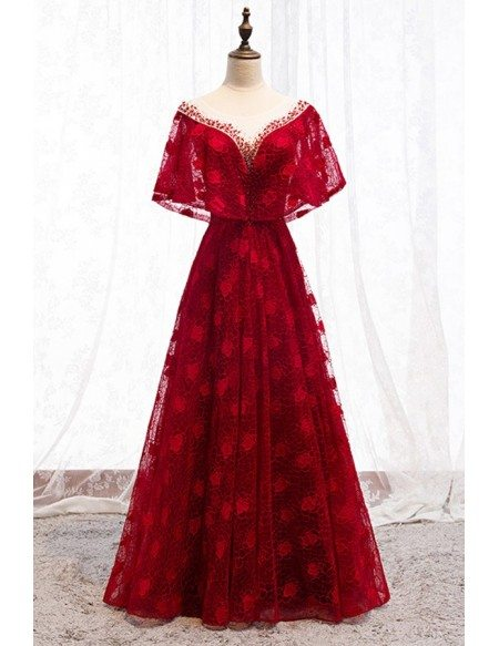 Long Red Lace Flowers Formal Dress With Cape Sleeves