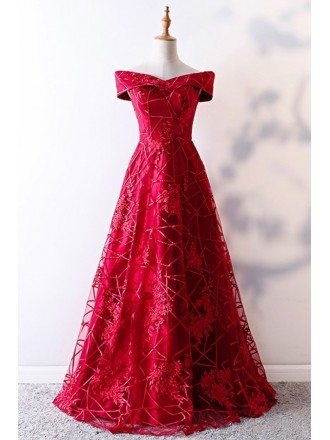 Unique Off Shoulder Aline Burgundy Formal Dress With Lace Pattern