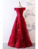 Unique Off Shoulder Aline Burgundy Formal Dress With Lace Pattern