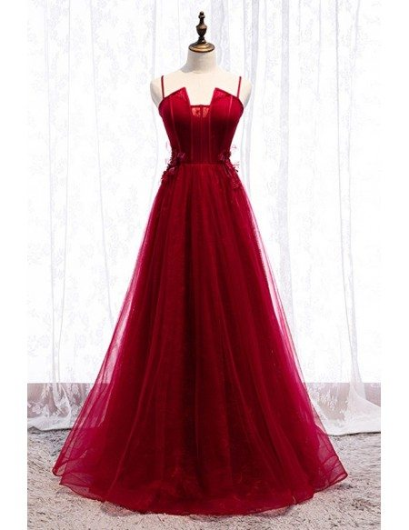 Special Square Neck Long Tulle Burgundy Formal Dress With Straps