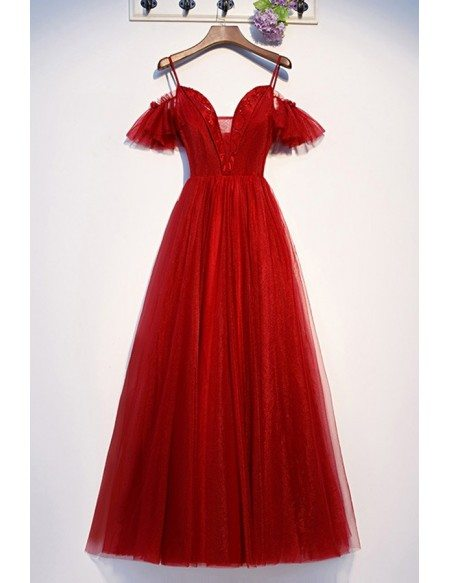 Flowy Red Formal Long Tulle Prom Dress With Vneck