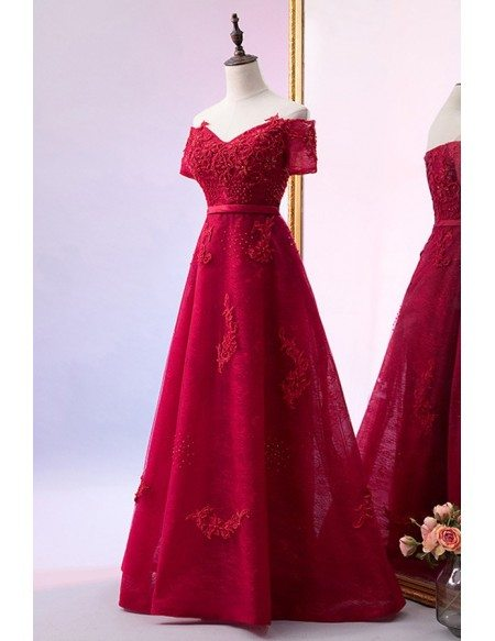 Beaded Off Shoulder Sleeve Burgundy Lace Prom Dress With Laceup