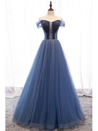 Formal Blue Tulle Ballgown Prom Dress With Off Shoulder