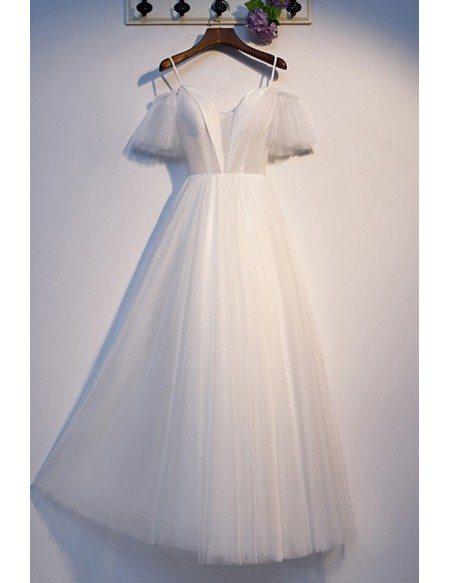 Elegant Long White Formal Dress Tulle With Sleeves