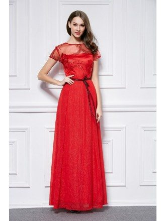 Elegant A-Line Embroided Chiffon Long Prom Dress With Short Sleeves
