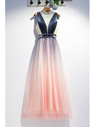 Unique Ombre Pink Tulle With Blue Prom Dress With Sequined High Neck