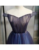 Navy Blue Tulle Off Shoulder Prom Dress With Corset Back
