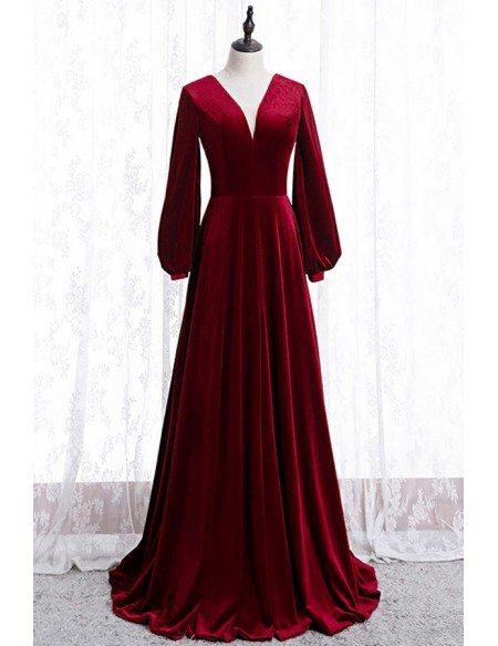 Simple Formal Burgundy Long Velvet Dress With Long Sleeves