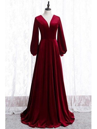 Simple Formal Burgundy Long Velvet Dress With Long Sleeves
