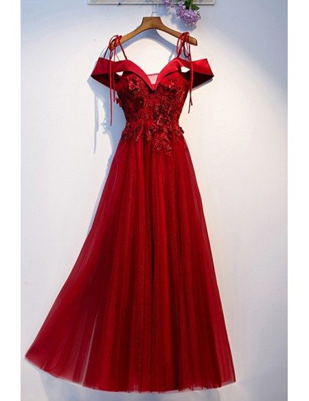 Burgundy Empire Waist Long Tulle Prom Dress Off Shoulder Straps