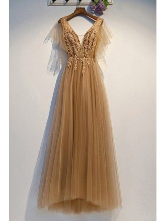 Long Gold Tulle Prom Dress Vneck With Tulle Sleeves Beading