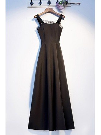 Simple Long Black Party Dress With Straps