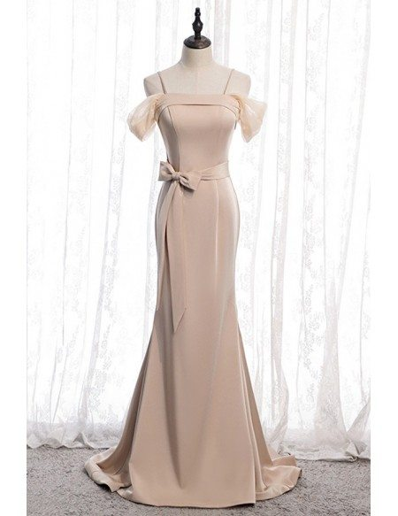Champagne Mermaid Long Evening Dress With Bow Sash