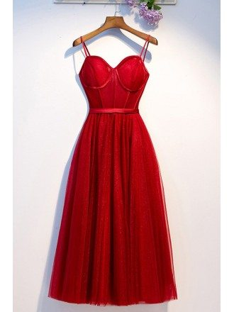 Burgundy Long Red Corset Back Party Dress With Spaghetti Straps