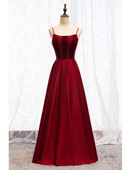 Simple Burgundy Aline Prom Dress With Beaded Top