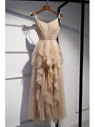 Special Champagne Ruffles Occasion Dress With Straps