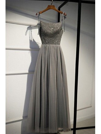 Bling Sequins With Tulle Long Grey Prom Dress With Straps