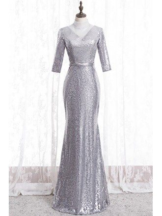 Formal Long Silver Sequins Mermaid Evening Dress With Sheer High Neck
