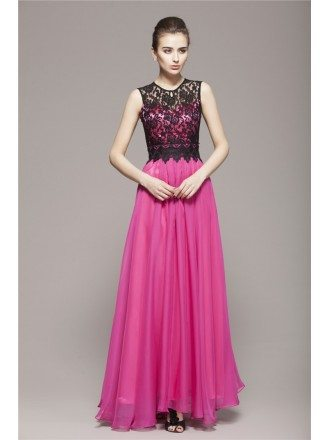 Modest Sleeved Chiffon Long Dresses With Lace Top