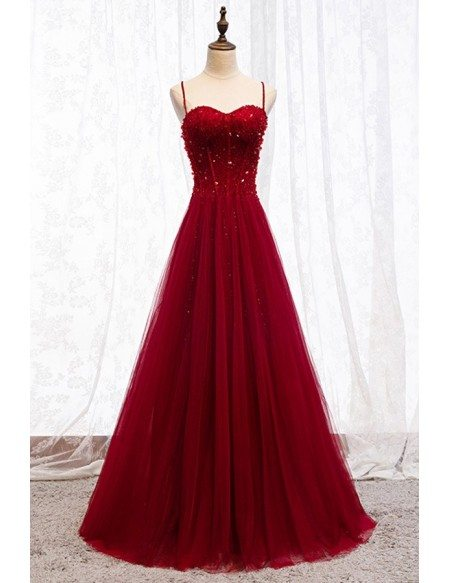 Burgundy Slim Long Tulle Formal Dress With Straps