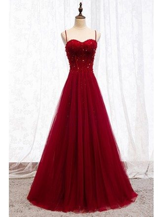 Burgundy Slim Long Tulle Formal Dress With Straps