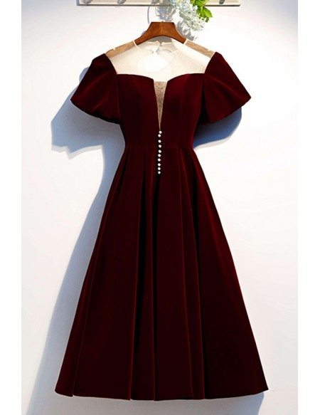 Retro Maroon Tea Length Party Dress With Illusion Neck Puffy Sleeves