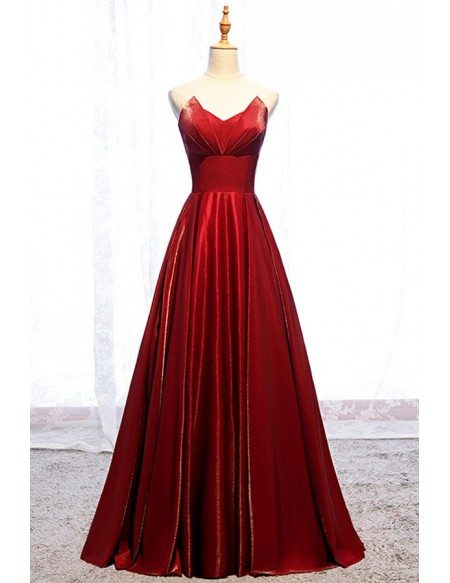 Pleated Strapless Burgundy Long Red Formal Dress