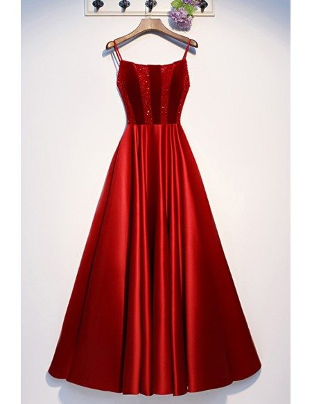 Burgundy Aline Long Formal Party Dress With Sequins Straps